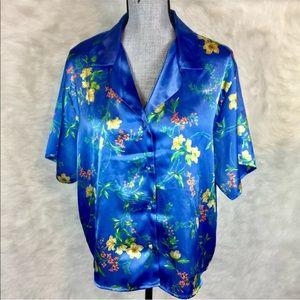 Vintage 90s Secret Treasures Pajama Top Blouse